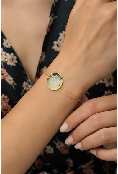 Nereze 925 Ayar Gümüş Gold Plaka Ayetel Kürsi Kadın Bileklik
