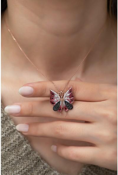 Nereze 925 Ayar Gümüş Kırmızı Kelebek Kadın Kolye