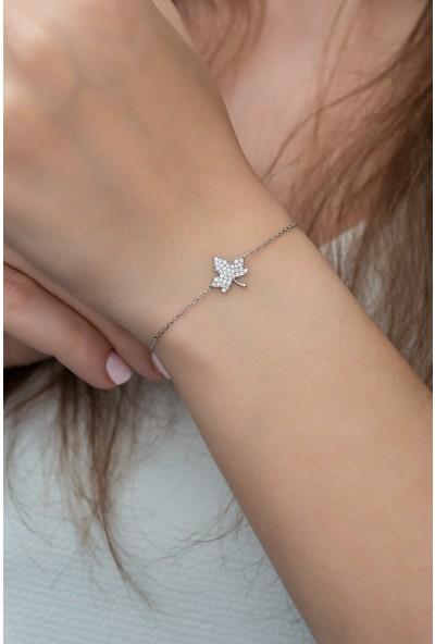 Nereze 925 Ayar Gümüş Minik Çınar Yaprağı Kadın Bileklik