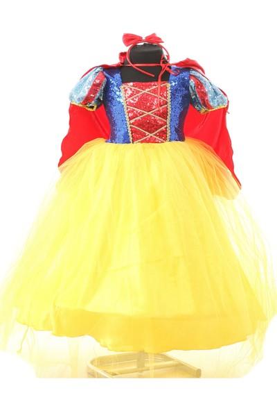 Deha Moda Kız Çocuk Sarı Tarlatanlı Pamuk Prenses Elbise