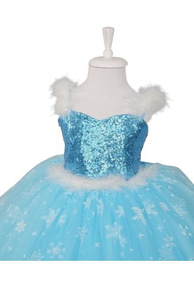 Deha Moda Kız Çocuk Mavi Askılı Tarlatanlı Taç Asa Saç Eldiven Hediyeli Elsa Elbise