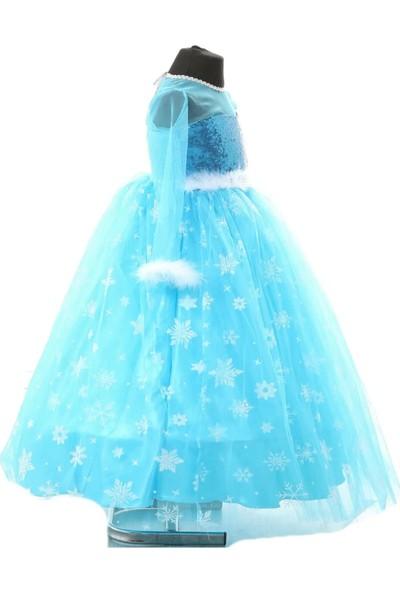 Deha Moda Kız Çocuk Mavi Uzun Kol Tarlatanlı Elsa Elbise 5'li Set
