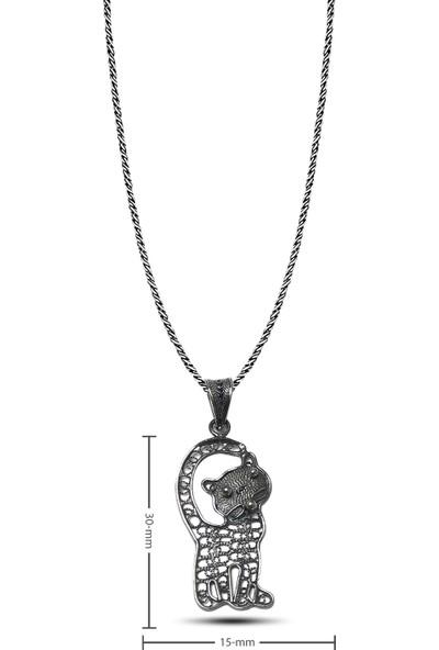 Midyat Nurtaş Gümüş Kedi Model Oksitli Telkari Gümüş Kolye