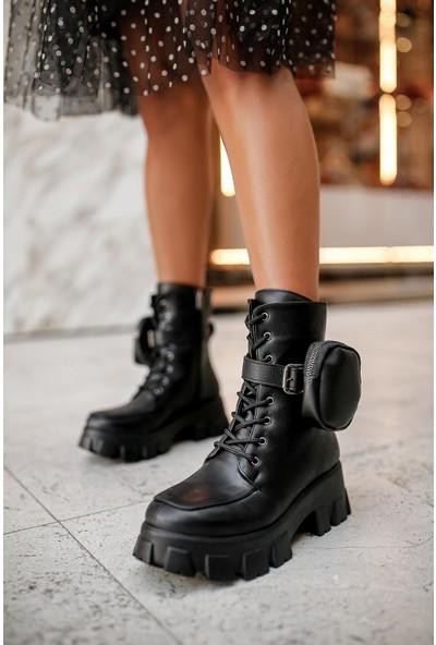 My Poppi Shoes Siyah Cepli Kadın Bot Marjin Mini