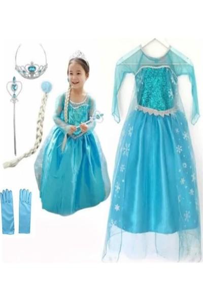 Deha Moda Kız Çocuk Uzun Kol Simli Frozen Taç Asa Saç ve Eldiven Mavi Elsa Elbise