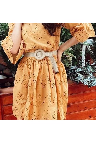 Modamot Hasır Sarmalı Daire Şeklinde Tokalı Hasır Model 2 Kadın Kemeri