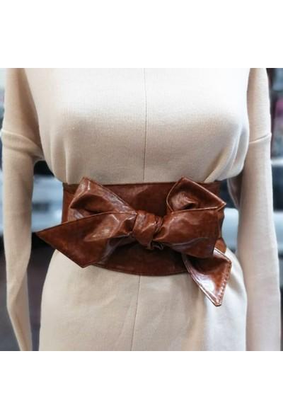 Fashion Moon Taba Kahverengi Kalın Bağlamalı Kemer