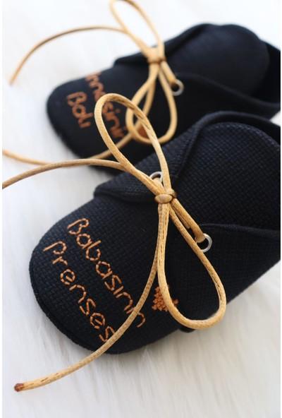 Etamine Takı Atölyesi Işlemeli Bebek Ayakkabısı Siyah Gold Yazılı