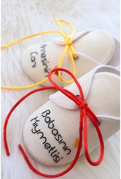 Etamine Takı Atölyesi Işlemeli Bebek Ayakkabısı Sarı Kırmızı Yazılı