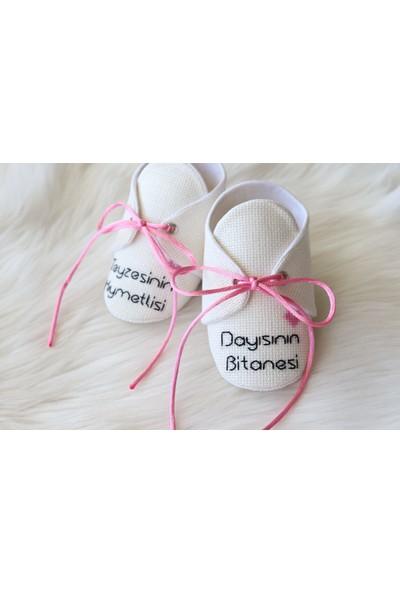 Etamine Takı Atölyesi Işlemeli Bebek Ayakkabısı Açık Pembe Önü Yazılı