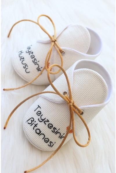 Etamine Takı Atölyesi El Işlemesi Bebek Ayakkabısı Gold Yazılı