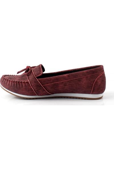 Pabucmarketi Comfort Bordo Kadın Babet Ayakkabı