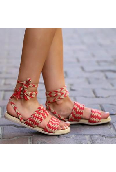 Pabucmarketi Comfort Kirmizi Kadın Sandalet