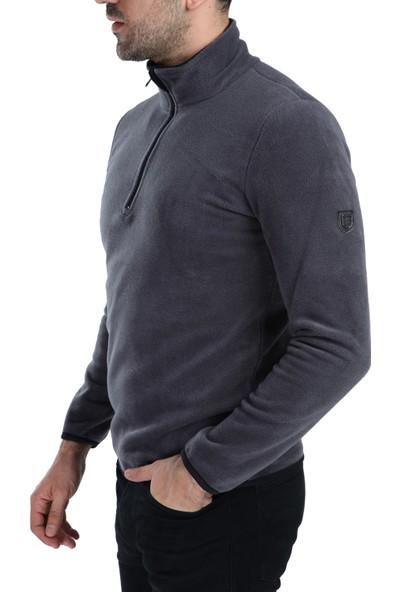 Ghassy Co. Erkek Yarım Fermuarlı Antrasit Polar