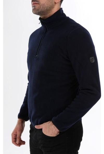 Ghassy Co. Erkek Yarım Fermuarlı Lacivert Polar