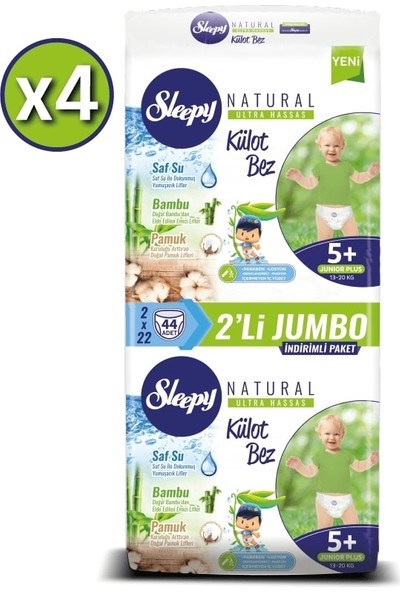 Sleepy Natural Külot Bez 5+ Numara Junior Plus 4 x 2'li Jumbo