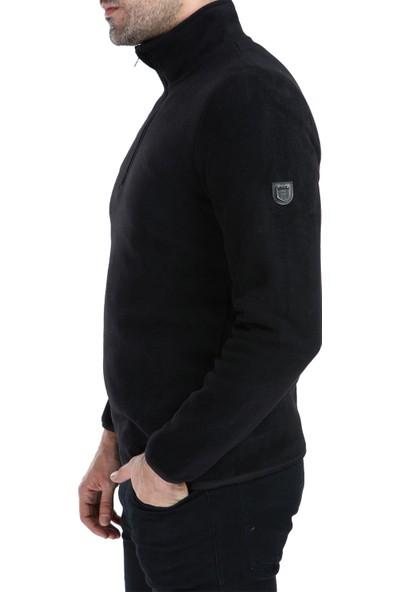 Ghassy Co. Erkek Yarım Fermuarlı Siyah Polar