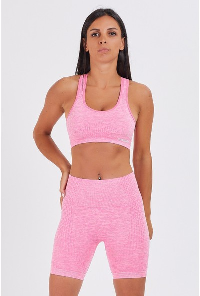 Gymwolves Bayan Spor Şort   Aktivated Serisi   Light Pink   Dikişsiz Spor Şort   Woman Sports Sorts