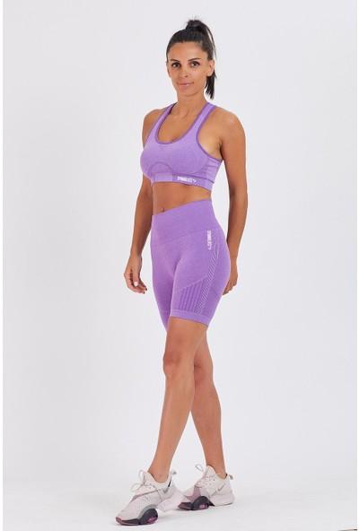 Gymwolves Kadın Spor Şort   Biker   Purple   Dikişsiz Spor Şort   Enerji Serisi