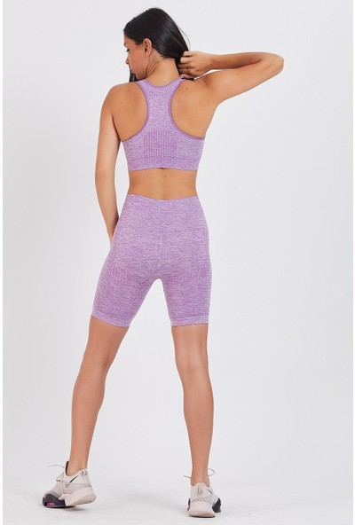 Gymwolves Kadın Spor Şort   Aktivated Serisi   Purple   Dikişsiz Spor Şort   Woman Sports Sorts