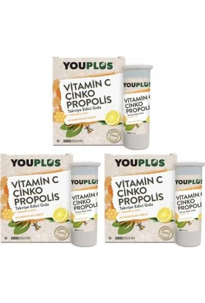 Youplus Vitamin C Çinko Propolis 20 Efervesan Tablet - 3 Adet