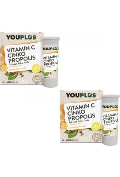 Youplus Vitamin C Çinko Propolis 20 Efervesan Tablet - 2 Adet