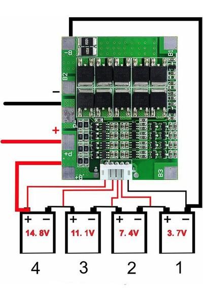 Maker 4S 30A 14.8V Bms Li-Ion Lityum 18650 Pil Polimer Pcb Koruma Devre Denge Bms 4s Pcm Şarj Dengeleme