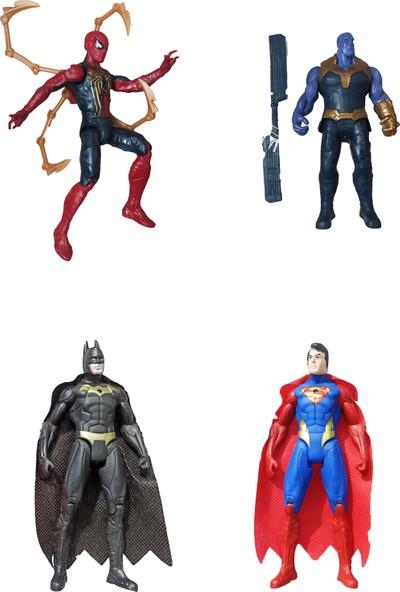 Meva Avengers 4'lü Spider-Man + Thanos + Batman + Süperman 16 cm Işıklı Aksesuarlı Figür Seti