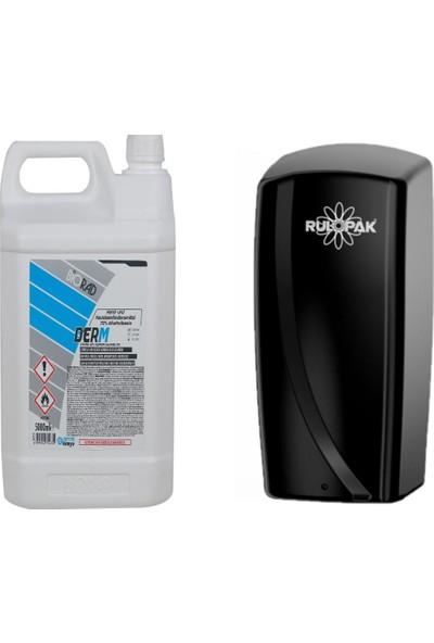 Biorad Derm Alkol Bazlı El ve Cilt Dezenfektanı 5000 ml + Rulopak Sensörlü Sprey Dezenfektan Dispenser Makinesi -Siyah