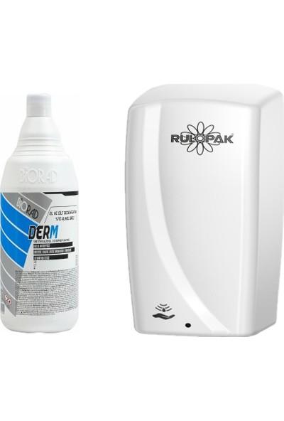 Biorad Derm Alkol Bazlı El ve Cilt Dezenfektanı 1000 ml + Rulopak Sensörlü Sprey Dezenfektan Dispenser Makinesi -Beyaz