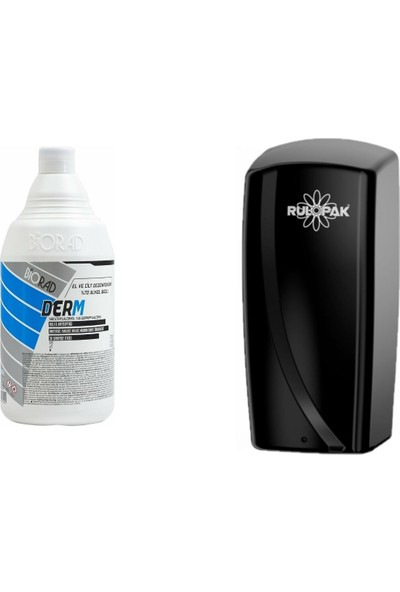 Biorad Derm Alkol Bazlı El ve Cilt Dezenfektanı 1000 ml + Rulopak Sensörlü Sprey Dezenfektan Dispenser Makinesi -Siyah