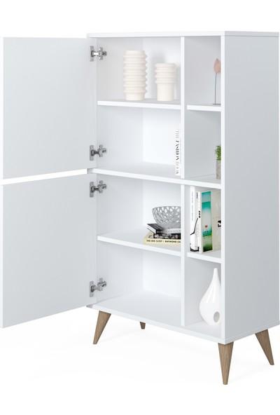 Ruum Store By Doğtaş Vega Yüksek Dolap Kapaklı Raflı Opak Beyaz