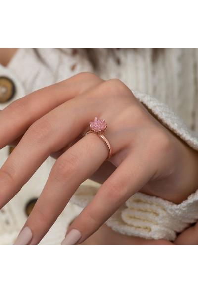 Papatya Silver Rose 14K Altın Kaplama Pembe Zirkon Taşlı Lotus Çiçeği Kadın Yüzük