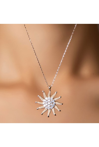 Papatya Silver Rose Kaplama Zirkon Taşlı Gümüş Güneş Kolye