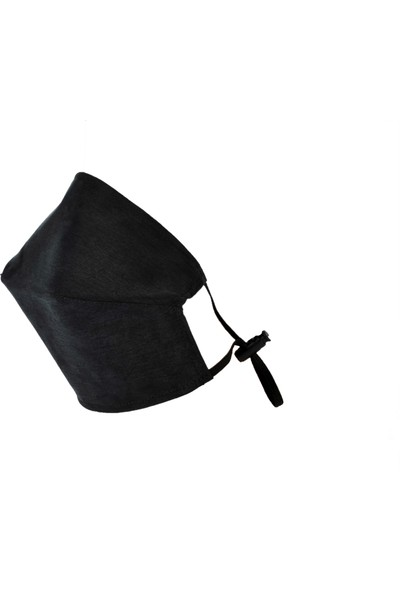 Monopro Vegan Cupro Telli ve Klipsli Siyah Renkli Antibakteriyal Yıkanabilir Maske