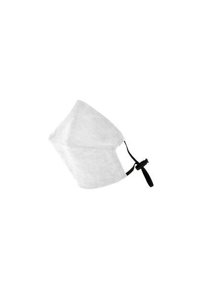 Monopro Vegan Cupro Telli ve Klipsli Antik Beyaz Renkli Antibakteriyal Yıkanabilir Maske