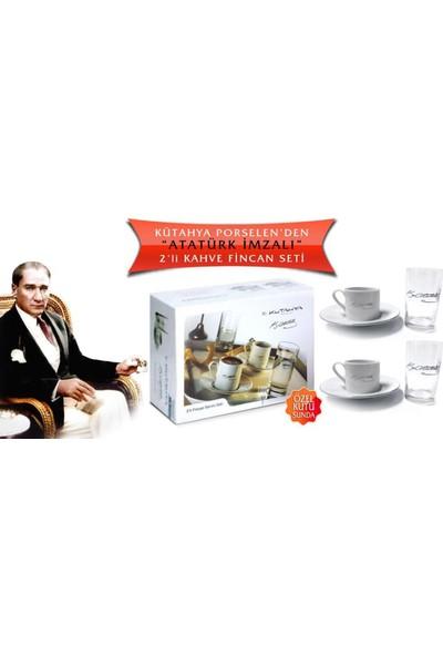 Kütahya Porselen Atatürk Imzalı Platin 6 Parça Kahve Takımı