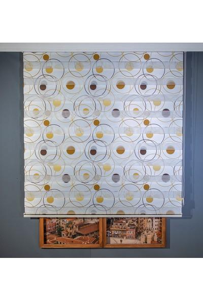 Anıper Zebra Perde Dijital Baskılı Kahve Sarı Geometrik Desen 80 x 200 cm