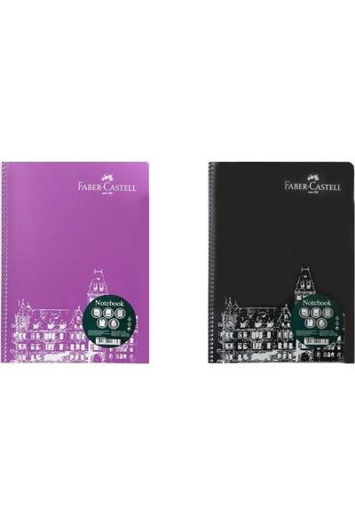 Faber-Castell Koyu Renkler Spiralli Defter 120 Yaprak A4 Kareli 2'li