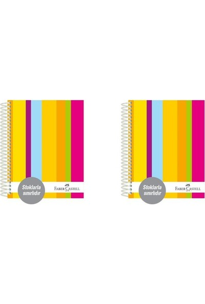Faber-Castell Sert Kapak Sep.3+11 Renkli Çizgiler Defter 200 Yaprak 2'li