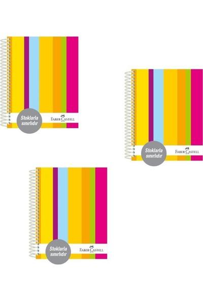 Faber-Castell Sert Kapak Separatör 3+11 Renkli Çizgiler Defter 200 Yaprak 3'lü