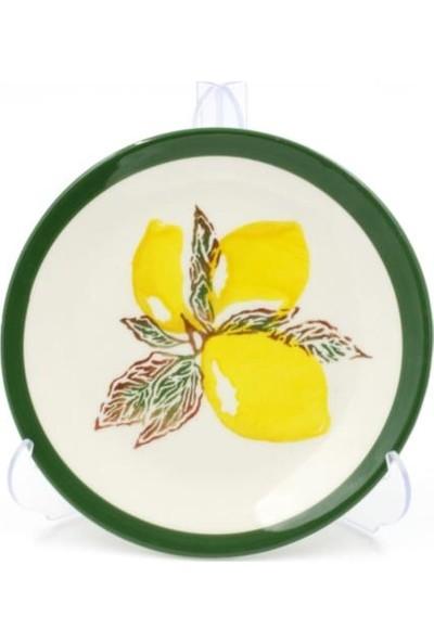 Şura Mutfak Özel Tasarım 6'lı Handmade Limon Desen Yuvarlak Pasta Tabak Seti 19 cm