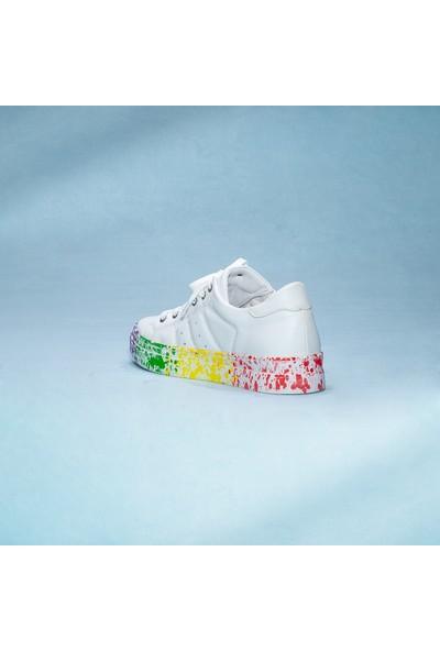 Rollerbird Quick Beyaz Deri 4 Renk Sıçratma Tabanlı Spor Ayakkabı