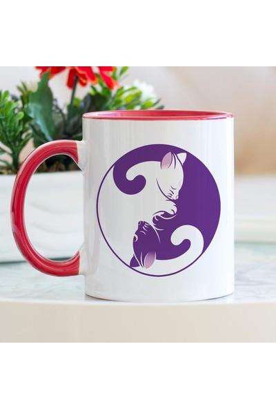 Hediyehanem Yin Yang Kediler Kırmızı Kupa Bardak
