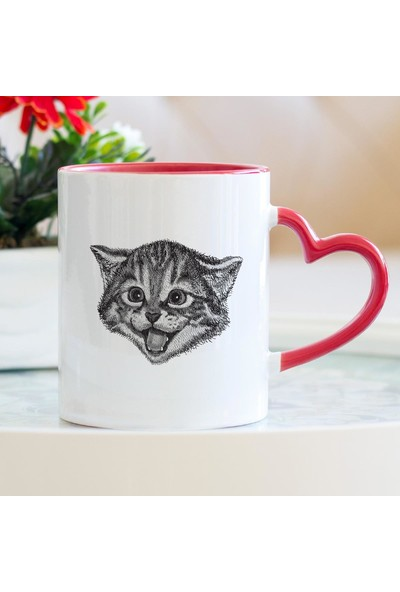 Hediyehanem Tatlı Kedi Kalpli Kupa Bardak
