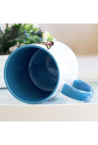 Hediyehanem Renkli Kedi Mavi Kupa Bardak