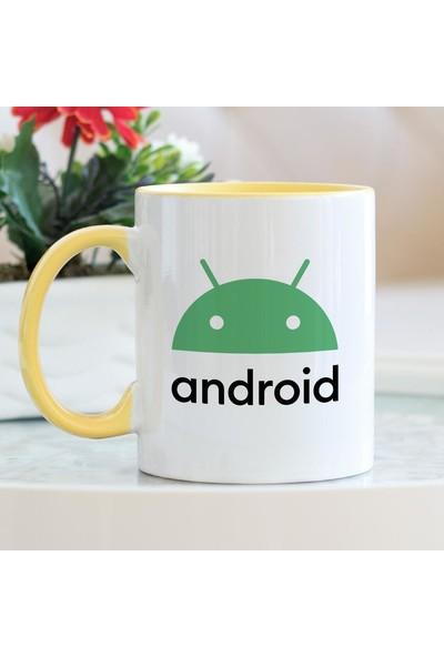 Hediyehanem Android Sarı Kupa Bardak