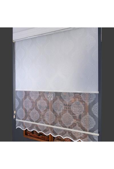 Aniper Çift Mekanizmalı Kırık Beyaz Damask Desen Tül Stor Perde 80x200 cm