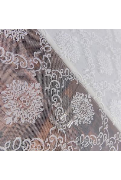 Aniper Çift Mekanizmalı Kırık Beyaz Damask Tül Stor Perde 80X200 cm
