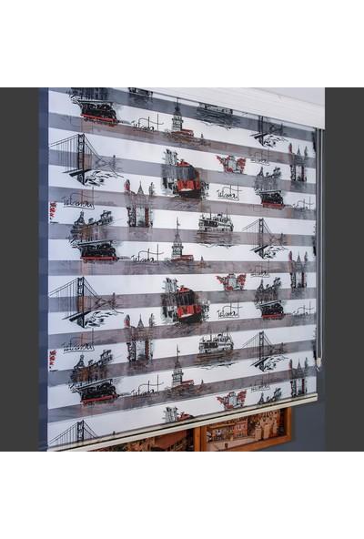 Aniper Zebra Perde Dijital Baskılı Istanbul Desenli Stor Perde 80x200 cm
